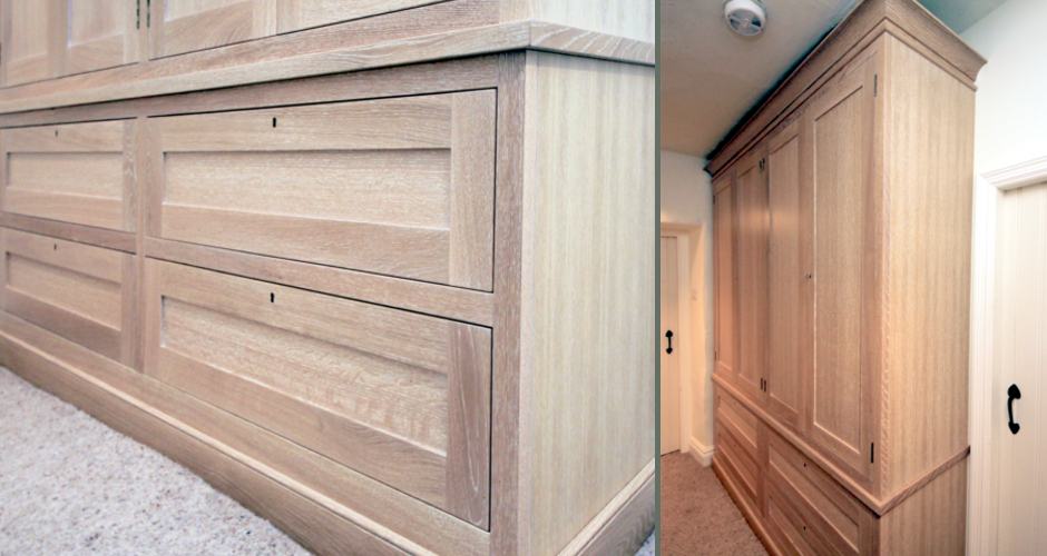 Limed oak storage cupboard for bedroom or hall