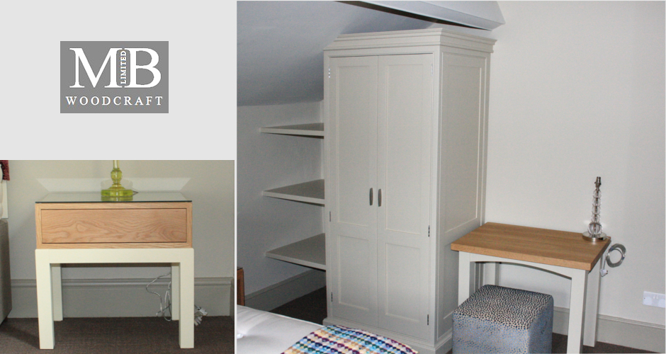 Oak bedside table and painted wardrobe