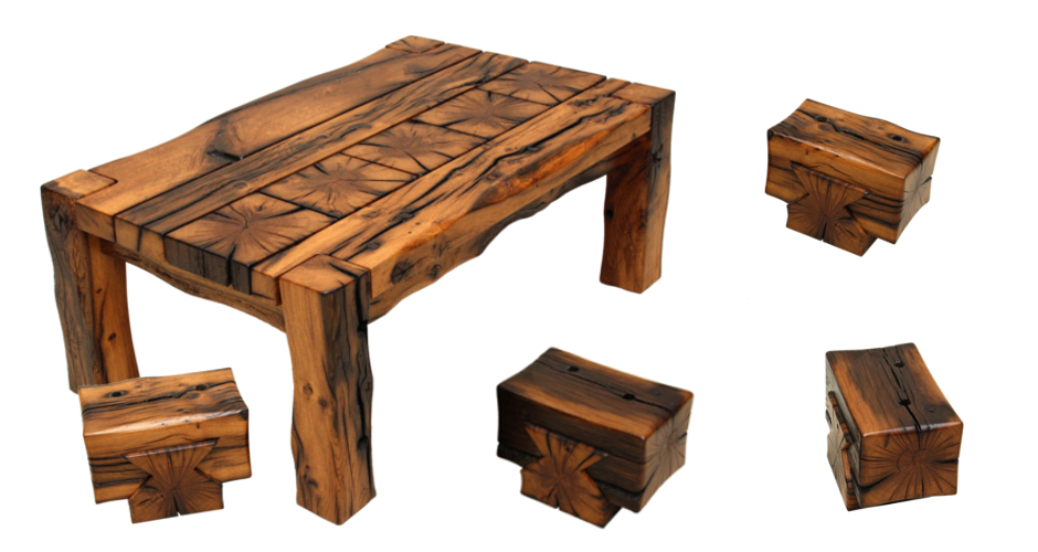 17th century reclaimed oak coffee table and dovetailed stools