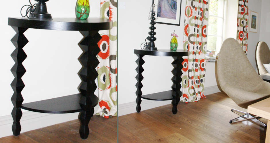 Dimond legged half moon side table