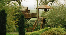 Extended garden with large tree house