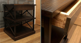 Bedside table in ebonized oak