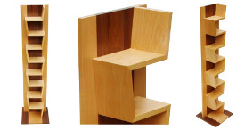 Distinct furniture: zig-zag maple walnut souvenir shelf