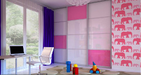 Cool gloass pink sliding door wardrobe