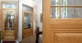 Custom made oak door with beveled glass and georgian bar